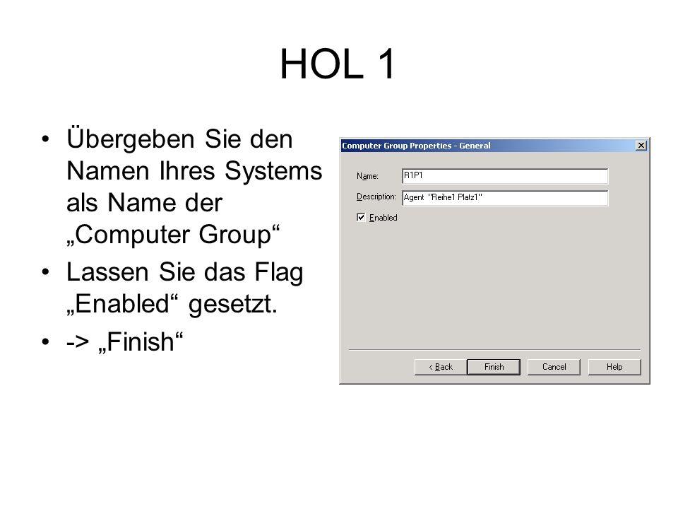 HOL 1 Übergeben Sie den Namen Ihres Systems als Name der Computer Group Lassen Sie das Flag Enabled gesetzt.