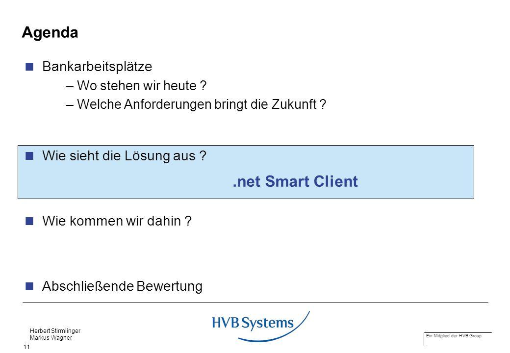 Ein Mitglied der HVB Group Herbert Stirmlinger Markus Wagner 11 Agenda Bankarbeitsplätze – Wo stehen wir heute ? – Welche Anforderungen bringt die Zuk