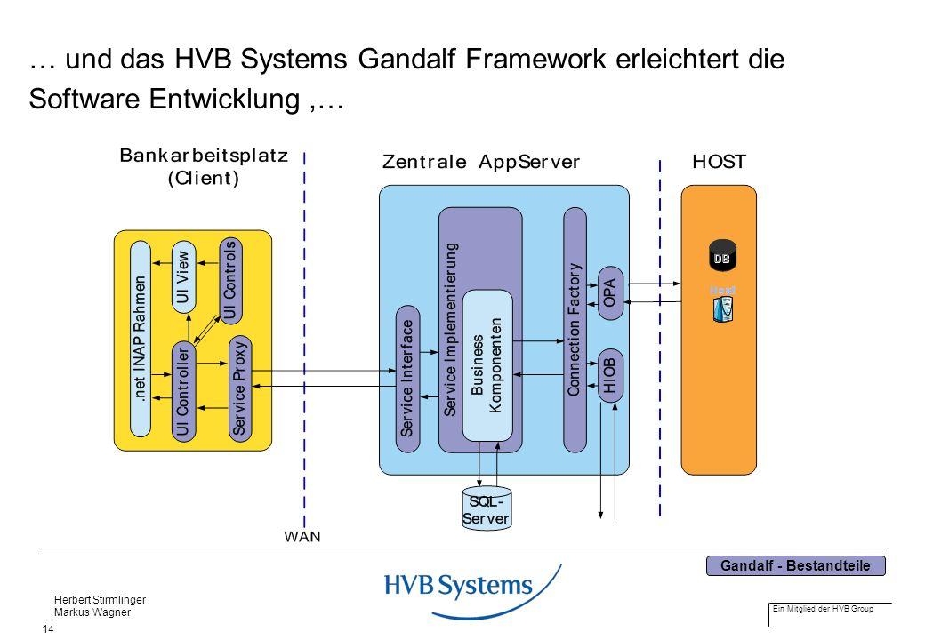 Ein Mitglied der HVB Group Herbert Stirmlinger Markus Wagner 14 … und das HVB Systems Gandalf Framework erleichtert die Software Entwicklung,… Gandalf