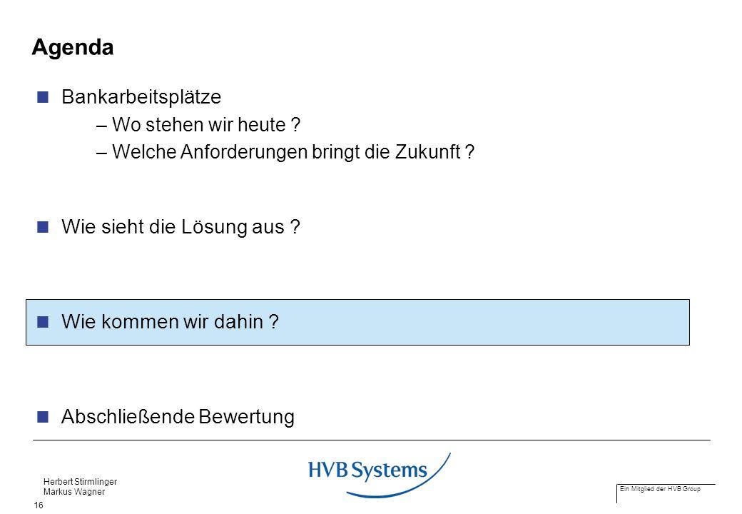Ein Mitglied der HVB Group Herbert Stirmlinger Markus Wagner 16 Agenda Bankarbeitsplätze – Wo stehen wir heute ? – Welche Anforderungen bringt die Zuk
