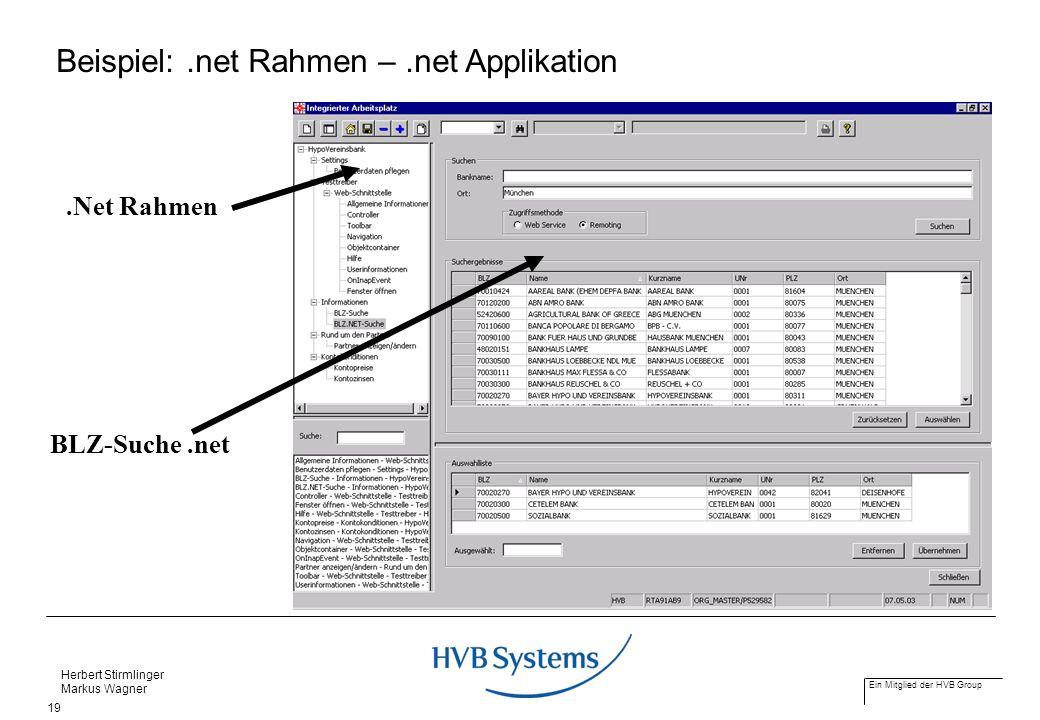 Ein Mitglied der HVB Group Herbert Stirmlinger Markus Wagner 19.Net Rahmen BLZ-Suche.net Beispiel:.net Rahmen –.net Applikation