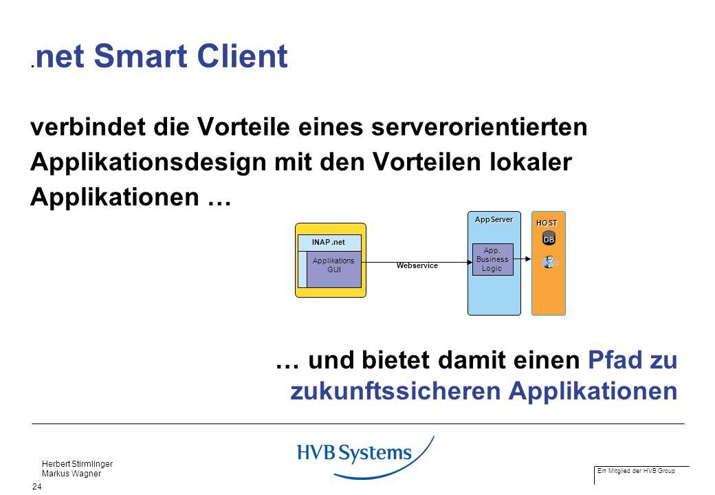Ein Mitglied der HVB Group Herbert Stirmlinger Markus Wagner 24. net Smart Client verbindet die Vorteile eines serverorientierten Applikationsdesign m