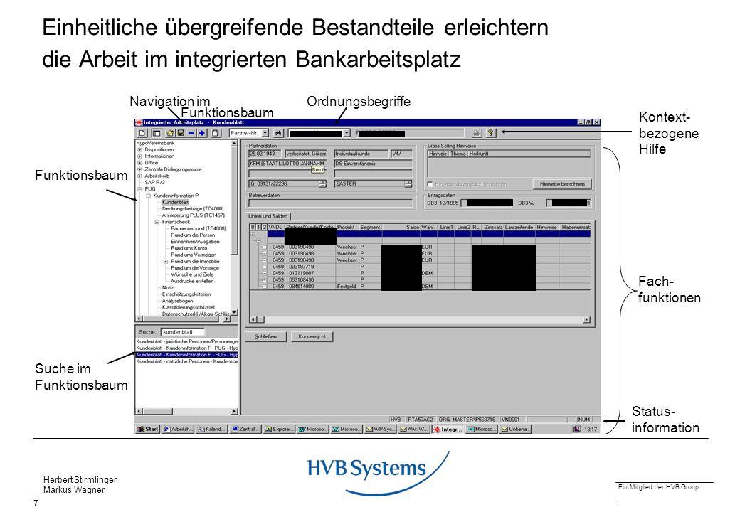 Ein Mitglied der HVB Group Herbert Stirmlinger Markus Wagner 7 Status- information Ordnungsbegriffe Funktionsbaum Suche im Funktionsbaum Navigation im