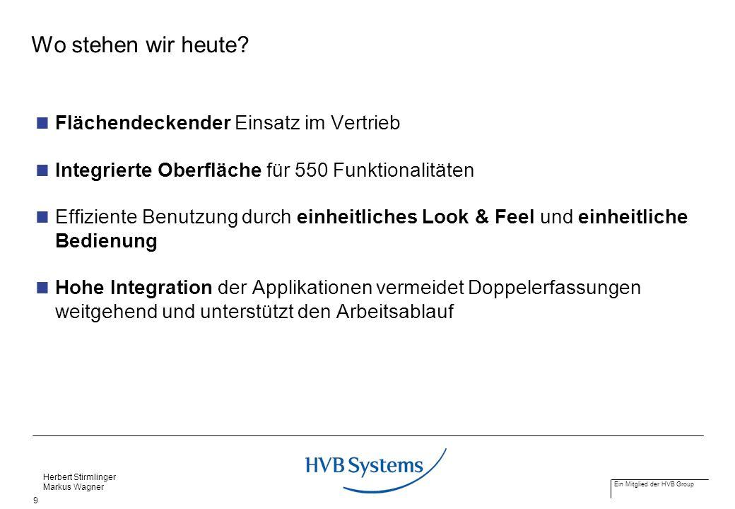 Ein Mitglied der HVB Group Herbert Stirmlinger Markus Wagner 9 Wo stehen wir heute? Flächendeckender Einsatz im Vertrieb Integrierte Oberfläche für 55