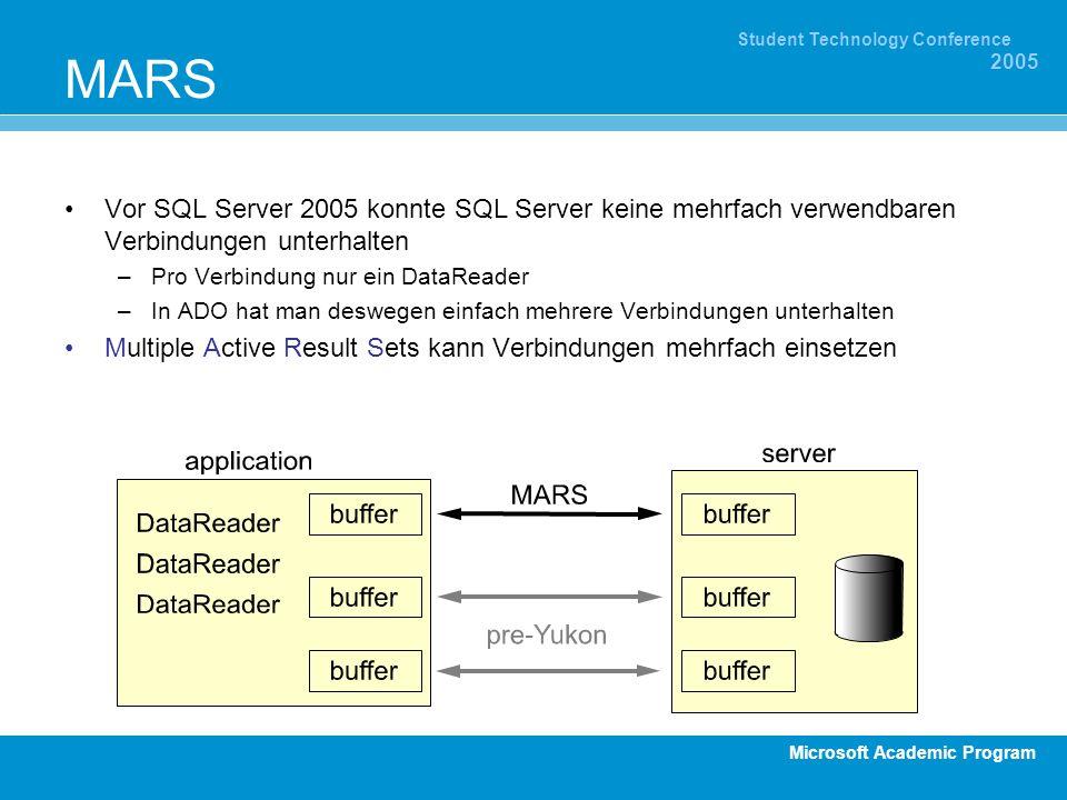 Microsoft Academic Program Student Technology Conference 2005 MARS Vor SQL Server 2005 konnte SQL Server keine mehrfach verwendbaren Verbindungen unte