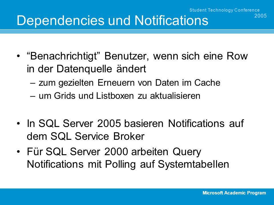 Microsoft Academic Program Student Technology Conference 2005 Dependencies und Notifications Benachrichtigt Benutzer, wenn sich eine Row in der Datenq