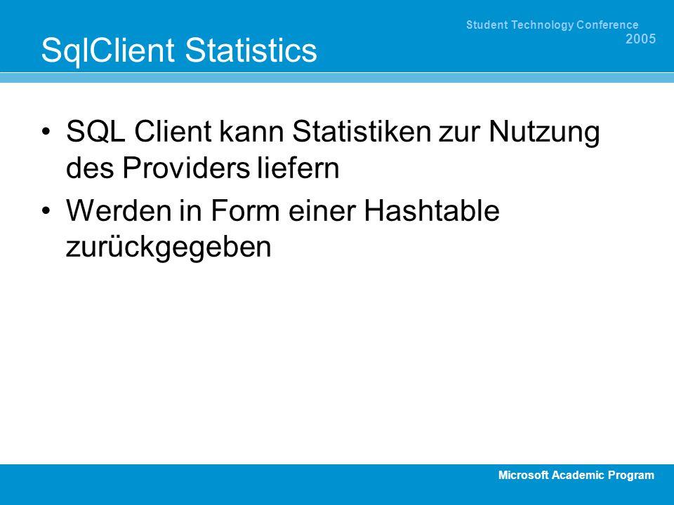 Microsoft Academic Program Student Technology Conference 2005 SqlClient Statistics SQL Client kann Statistiken zur Nutzung des Providers liefern Werden in Form einer Hashtable zurückgegeben
