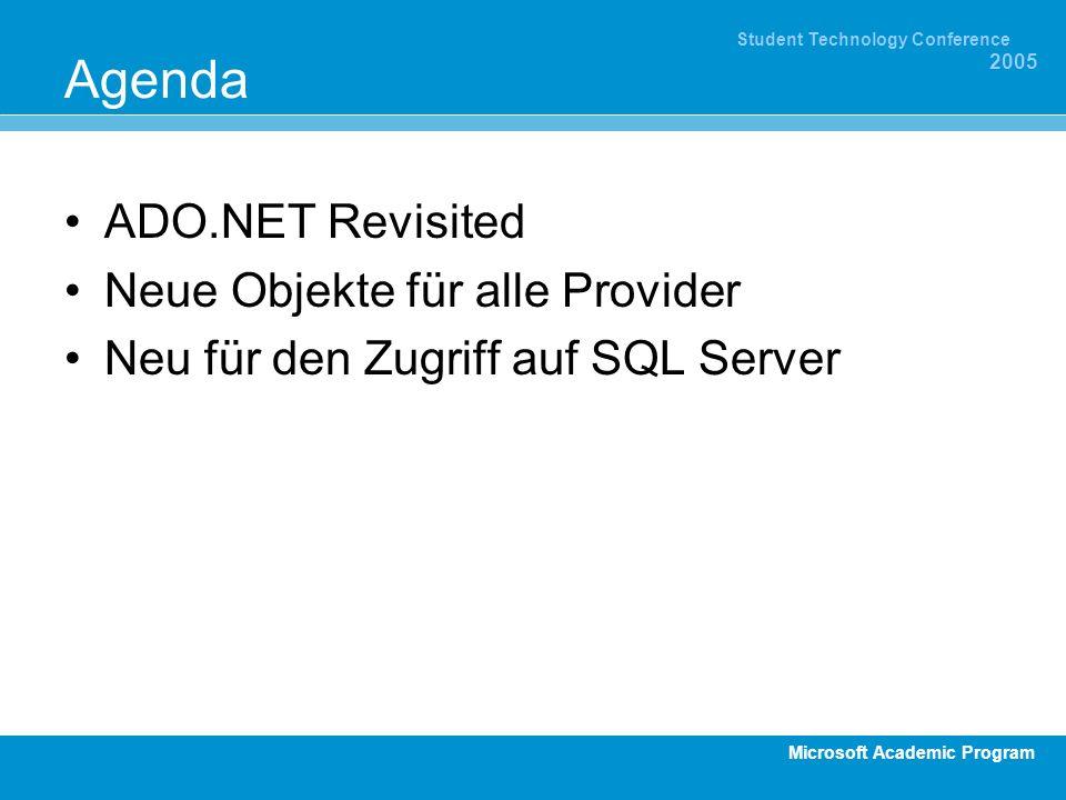 Microsoft Academic Program Student Technology Conference 2005 Agenda ADO.NET Revisited Neue Objekte für alle Provider Neu für den Zugriff auf SQL Serv