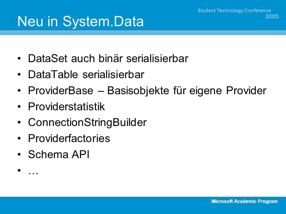 Microsoft Academic Program Student Technology Conference 2005 Neu in System.Data DataSet auch binär serialisierbar DataTable serialisierbar ProviderBa