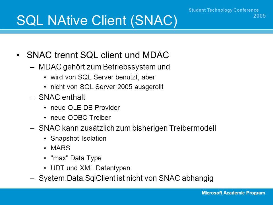 Microsoft Academic Program Student Technology Conference 2005 SQL NAtive Client (SNAC) SNAC trennt SQL client und MDAC –MDAC gehört zum Betriebssystem