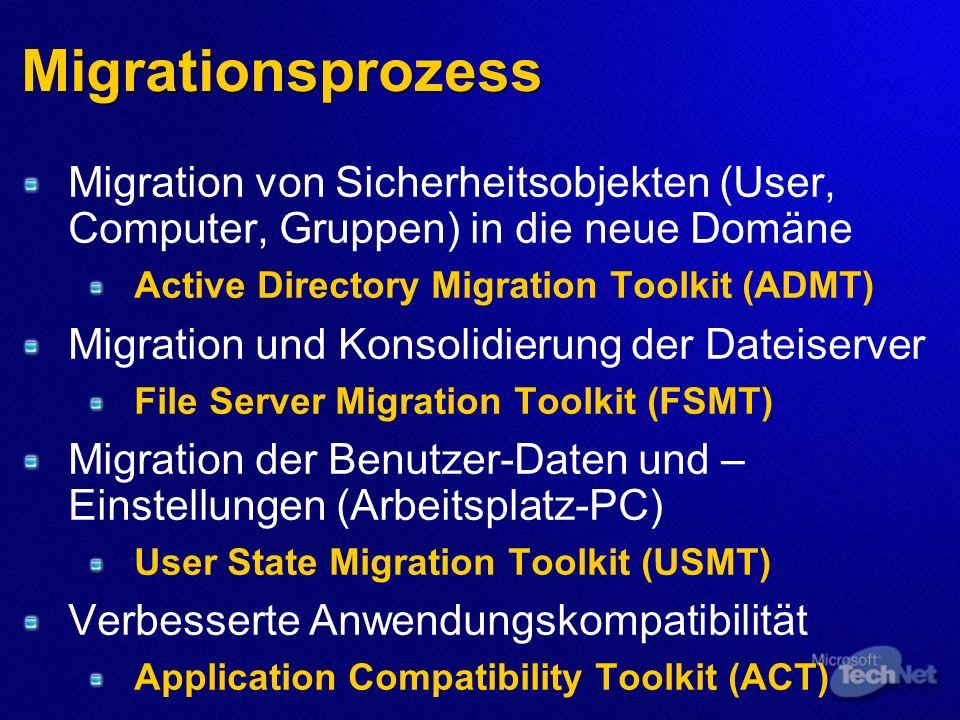 Migrationsprozess Migration von Sicherheitsobjekten (User, Computer, Gruppen) in die neue Domäne Active Directory Migration Toolkit (ADMT) Migration u
