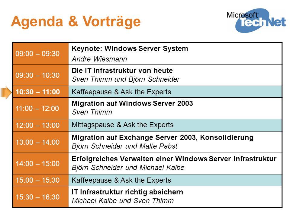 Migration auf Windows Server 2003 Sven Thimm Senior Consultant IT-Infrastruktur / IT-Security Microsoft Deutschland GmbH v-svthim@microsoft.com