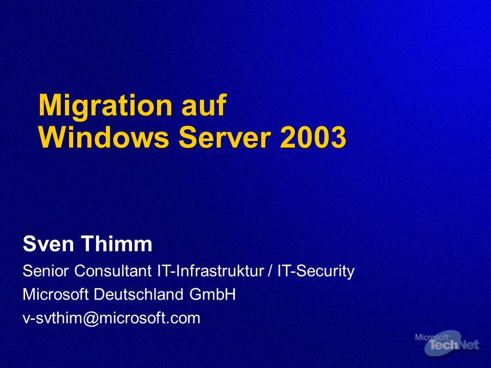 User State Migration Toolkit Unattended Migration Ermöglicht eine vollständig automatisierte Migration SMS 2003 SP1 und OS Deployment FP WMI Script für Remote Execution Third-party Tools Anwender muss nicht angemeldet sein Es muss nicht mit Administrator gearbeitet werden – aber die Berechtigungen müssen ausreichend sein
