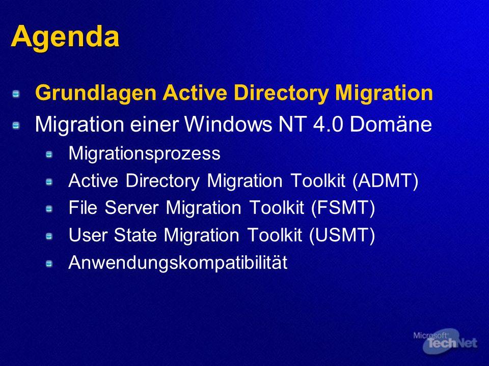 Agenda Grundlagen Active Directory Migration Migration einer Windows NT 4.0 Domäne Migrationsprozess Active Directory Migration Toolkit (ADMT) File Server Migration Toolkit (FSMT) User State Migration Toolkit (USMT) Anwendungskompatibilität