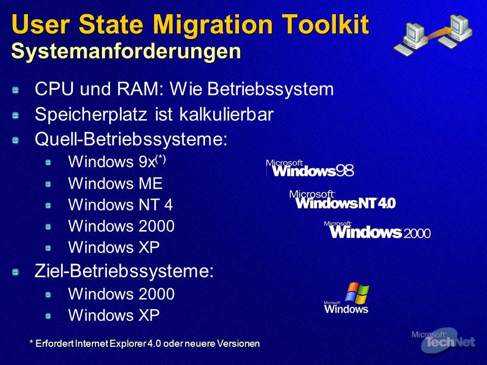 User State Migration Toolkit Systemanforderungen CPU und RAM: Wie Betriebssystem Speicherplatz ist kalkulierbar Quell-Betriebssysteme: Windows 9x (*)