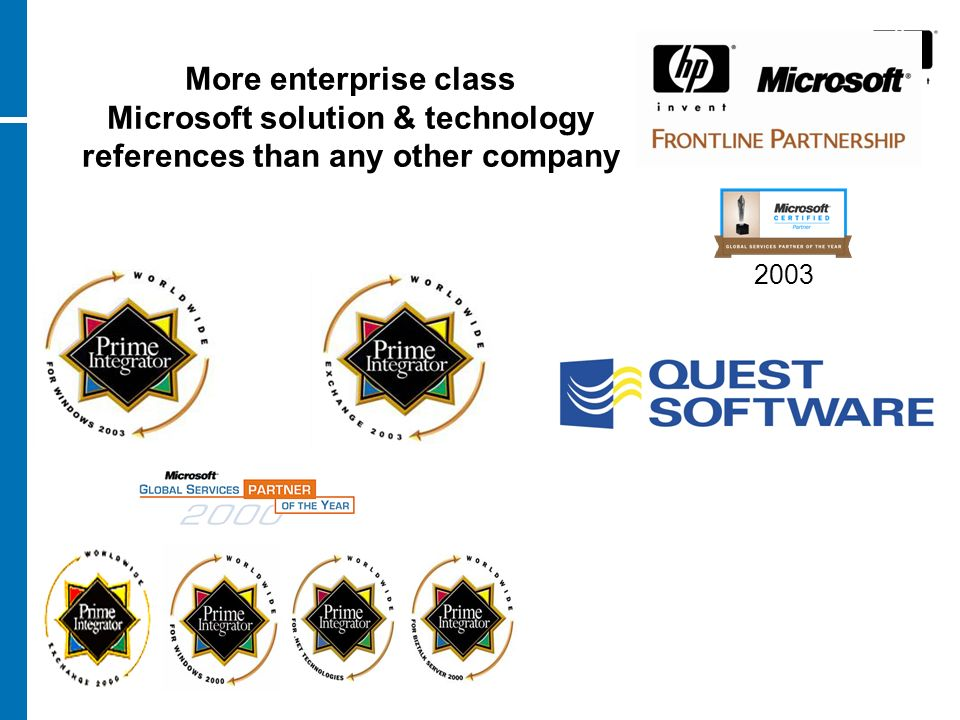 More enterprise class Microsoft solution & technology references than any other company 2003