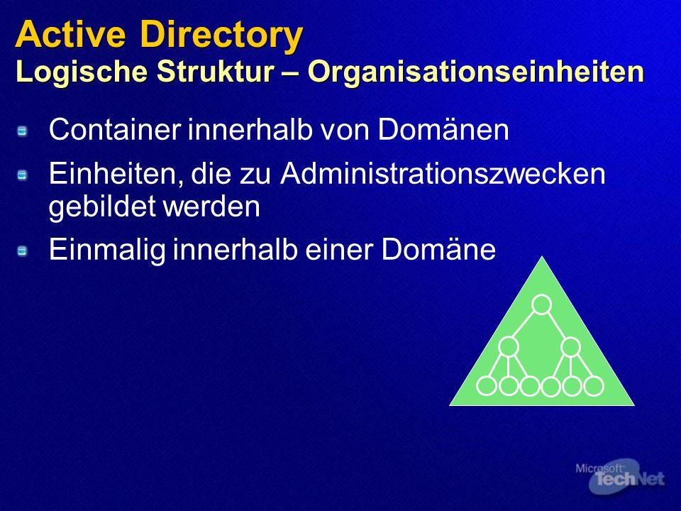 Active Directory Logische Struktur – Organisationseinheiten Container innerhalb von Domänen Einheiten, die zu Administrationszwecken gebildet werden Einmalig innerhalb einer Domäne