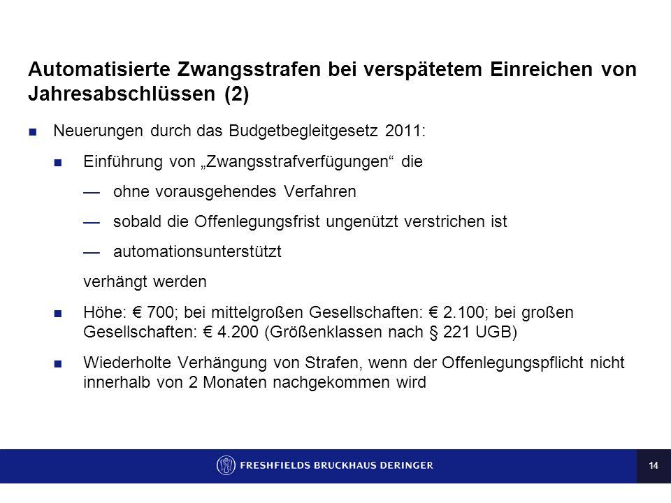 13 Automatisierte Zwangsstrafen bei verspätetem Einreichen von Jahresabschlüssen (1) Offenlegungspflicht bei (i) Kapitalgesellschaften (ii) unternehme