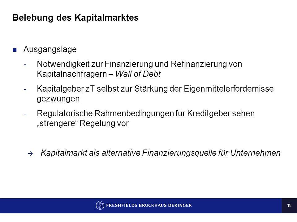 18 Belebung des Kapitalmarktes Ausgangslage -Notwendigkeit zur Finanzierung und Refinanzierung von Kapitalnachfragern – Wall of Debt -Kapitalgeber zT