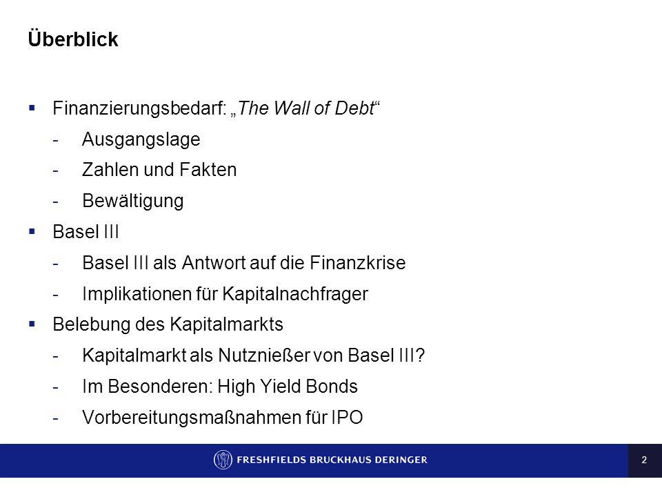 2 Überblick Finanzierungsbedarf: The Wall of Debt -Ausgangslage -Zahlen und Fakten -Bewältigung Basel III -Basel III als Antwort auf die Finanzkrise -