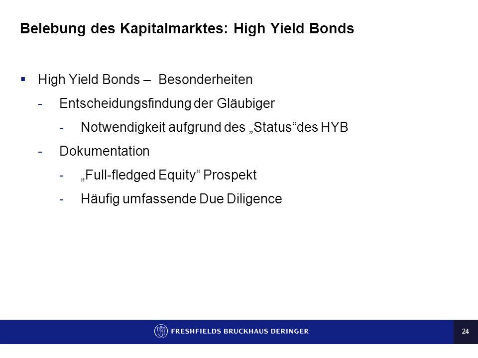 24 Belebung des Kapitalmarktes: High Yield Bonds High Yield Bonds – Besonderheiten -Entscheidungsfindung der Gläubiger -Notwendigkeit aufgrund des Sta