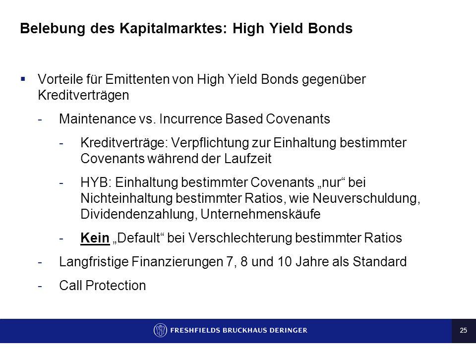 25 Belebung des Kapitalmarktes: High Yield Bonds Vorteile für Emittenten von High Yield Bonds gegenüber Kreditverträgen -Maintenance vs. Incurrence Ba