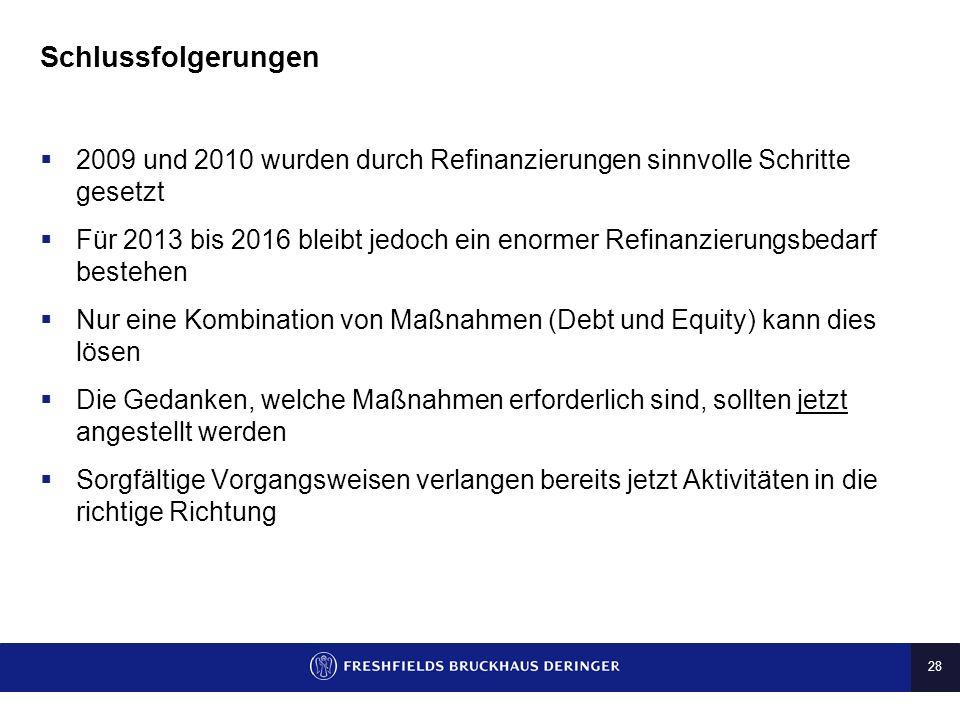 28 Schlussfolgerungen 2009 und 2010 wurden durch Refinanzierungen sinnvolle Schritte gesetzt Für 2013 bis 2016 bleibt jedoch ein enormer Refinanzierun