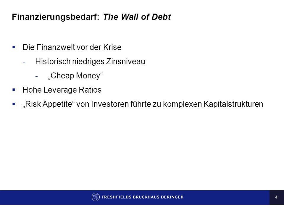 4 Finanzierungsbedarf: The Wall of Debt Die Finanzwelt vor der Krise -Historisch niedriges Zinsniveau -Cheap Money Hohe Leverage Ratios Risk Appetite