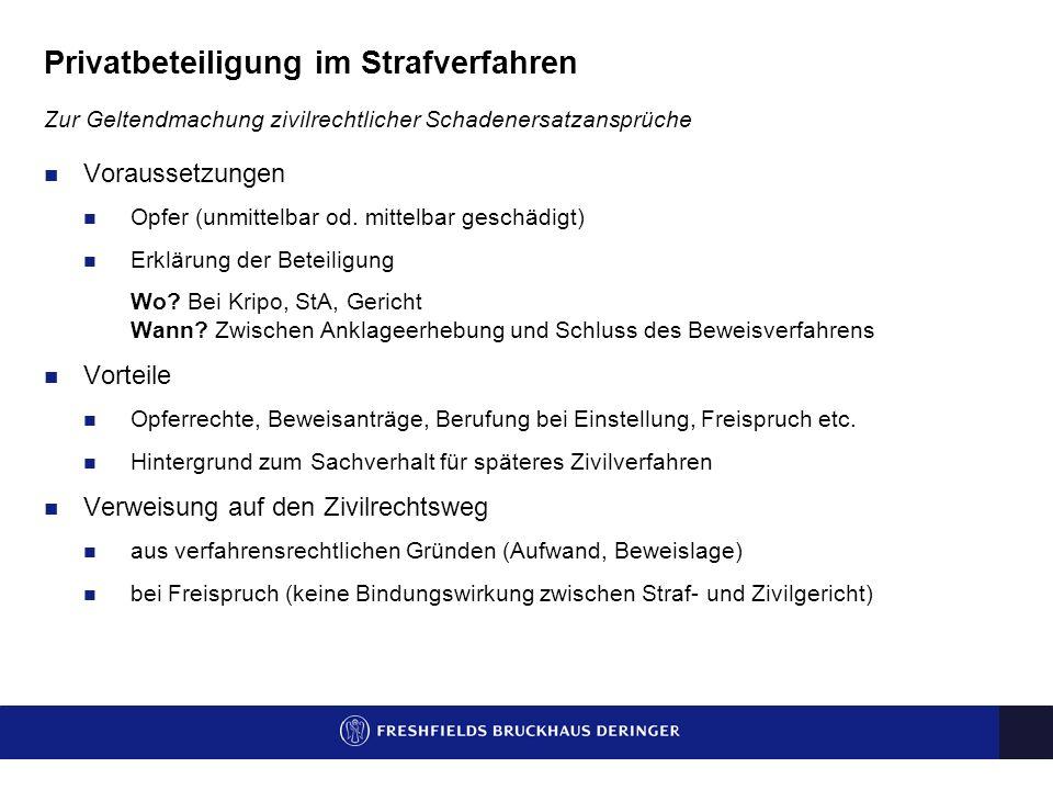 Privatbeteiligung im Strafverfahren Zur Geltendmachung zivilrechtlicher Schadenersatzansprüche Voraussetzungen Opfer (unmittelbar od.