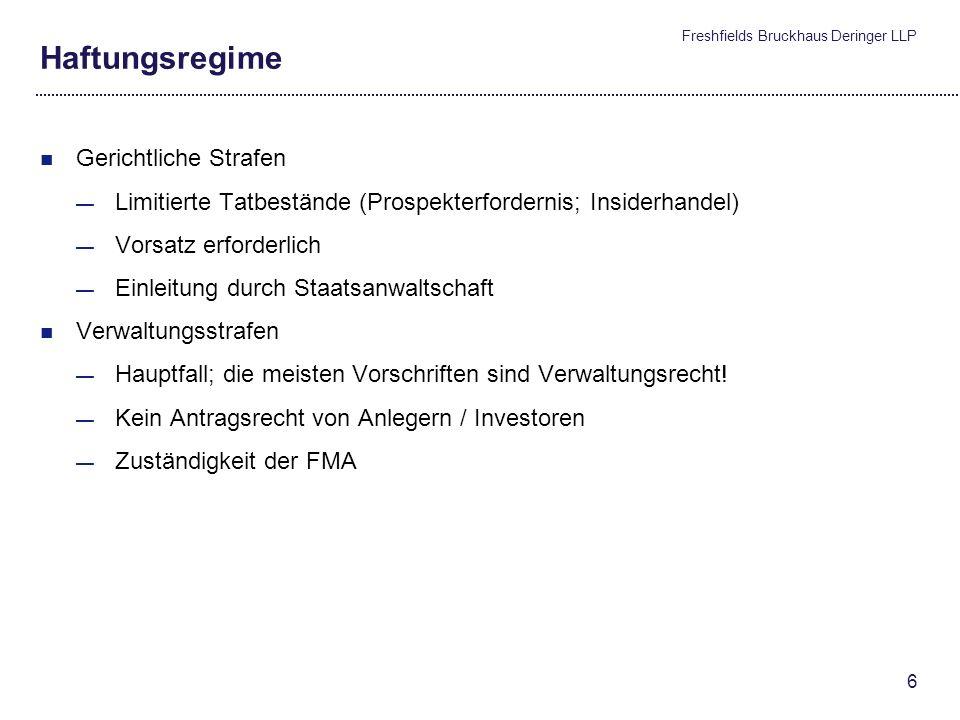 Freshfields Bruckhaus Deringer LLP 5 Kapitalmarktrechtliche Grundlagen Intermediäre (Fortsetzung) Informations- und Aufklärungspflichten gegenüber Inv