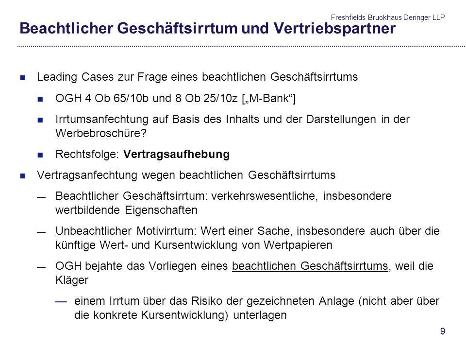 Freshfields Bruckhaus Deringer LLP 8 Jüngste höchstgerichtliche Entscheidungen