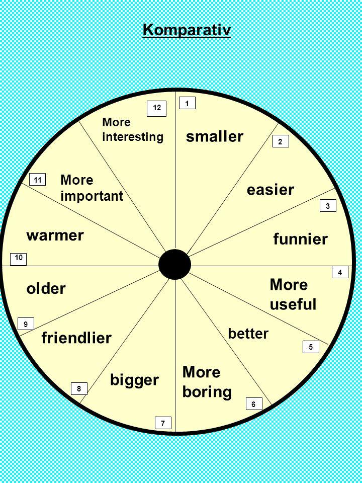 1 2 3 4 5 6 7 8 9 10 12 11 More interesting smaller More important warmer older easier funnier More useful More boring bigger friendlier Komparativ better