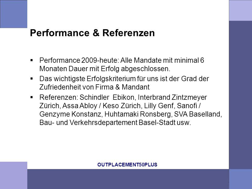 OUTPLACEMENT50PLUS Performance & Referenzen Performance 2009-heute: Alle Mandate mit minimal 6 Monaten Dauer mit Erfolg abgeschlossen. Das wichtigste