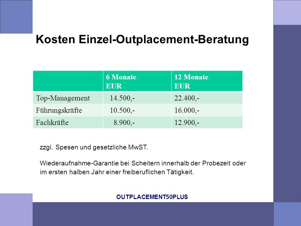 OUTPLACEMENT50PLUS Kosten Einzel-Outplacement-Beratung 6 Monate EUR 12 Monate EUR Top-Management 14.500,-22.400,- Führungskräfte 10.500,-16.000,- Fachkräfte 8.900,-12.900,- zzgl.