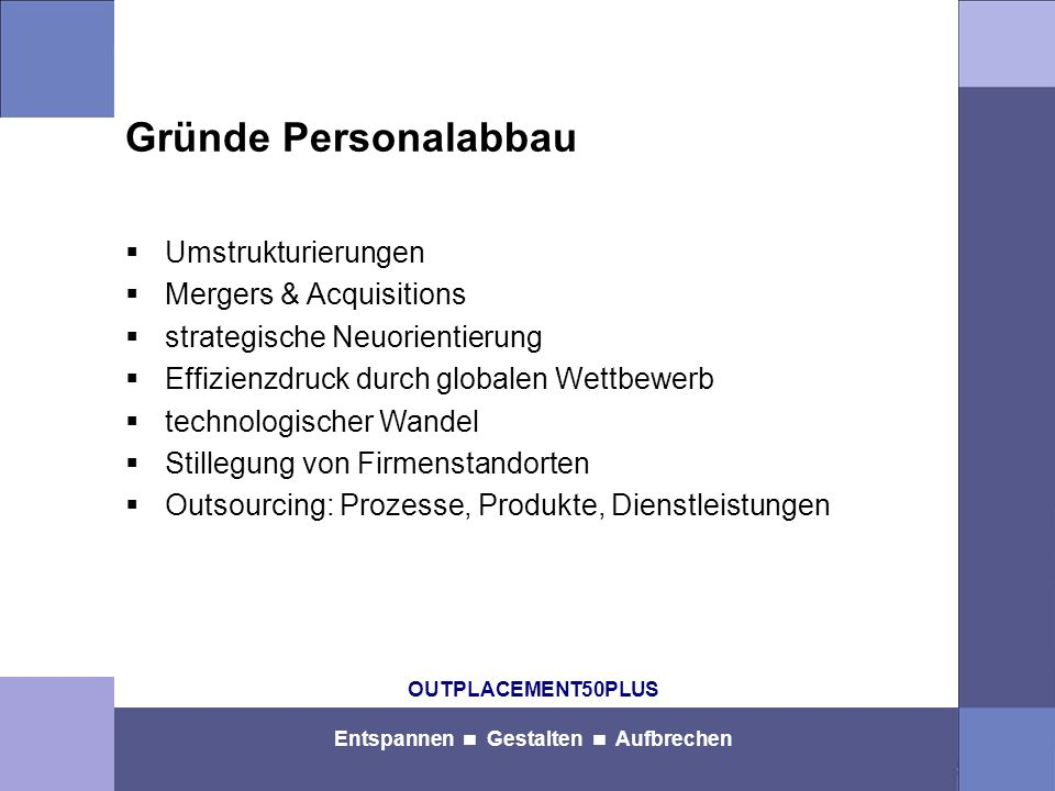 OUTPLACEMENT50PLUS Entspannen Gestalten Aufbrechen OUTPLACEMENT50PLUS Köln Frank-Michael Bergerhoff, Dipl.-Kfm.