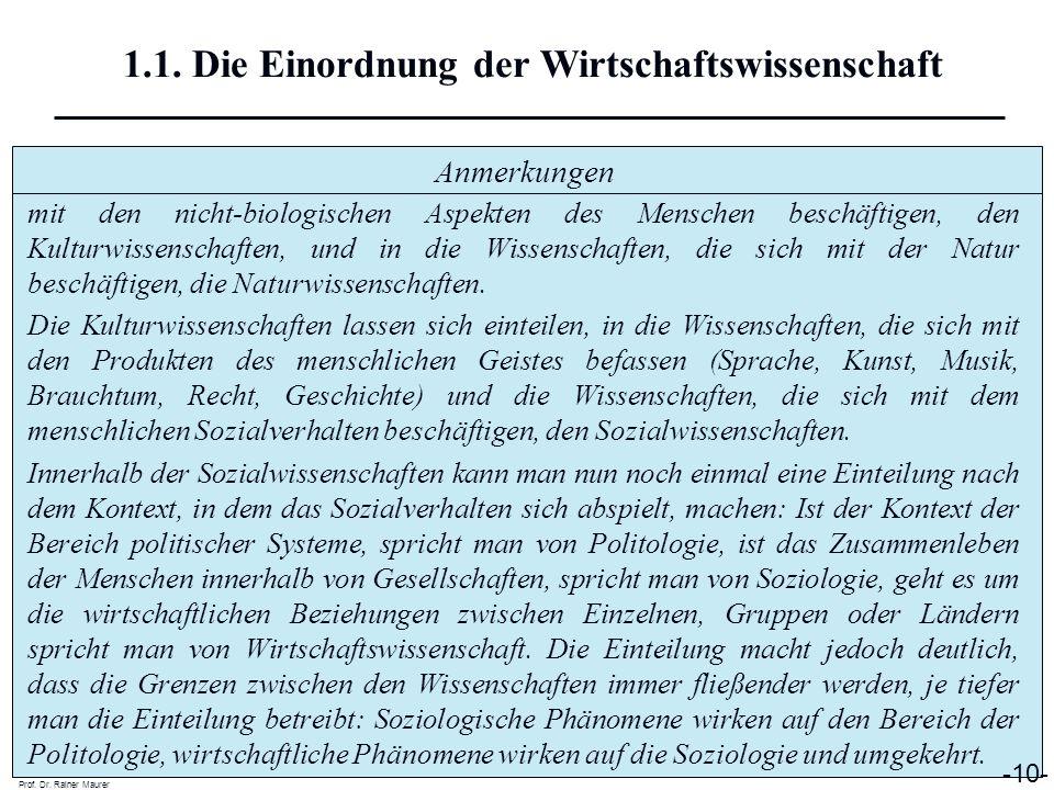 Anmerkungen Prof. Dr. Rainer Maurer -10- 1.1. Die Einordnung der Wirtschaftswissenschaft mit den nicht-biologischen Aspekten des Menschen beschäftigen