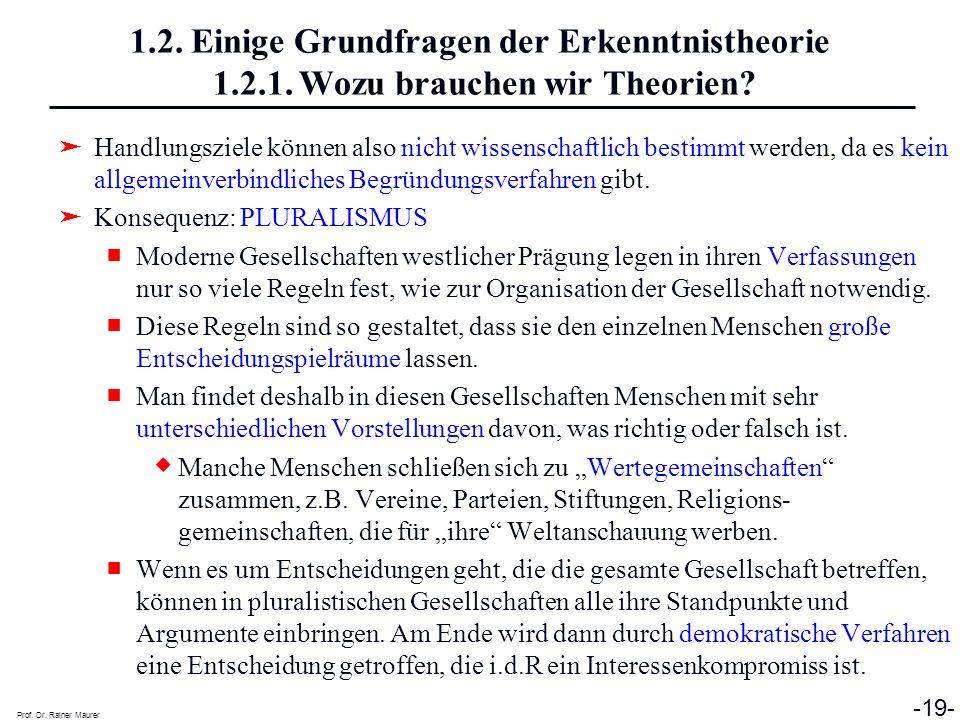 Prof. Dr. Rainer Maurer -19- 1.2. Einige Grundfragen der Erkenntnistheorie 1.2.1. Wozu brauchen wir Theorien? Handlungsziele können also nicht wissens