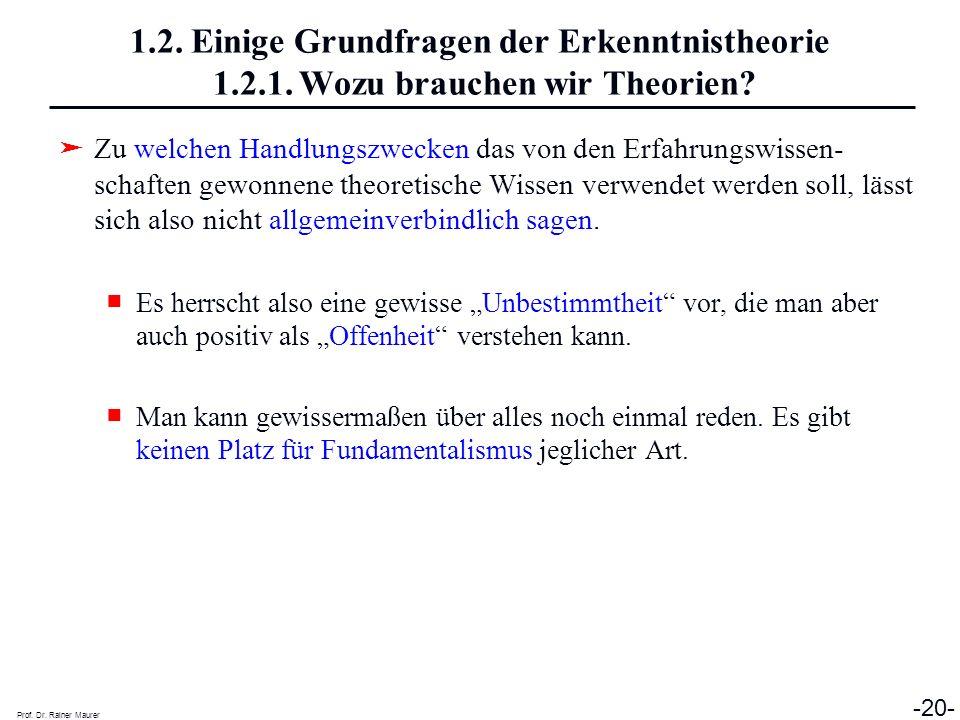 Prof. Dr. Rainer Maurer -20- 1.2. Einige Grundfragen der Erkenntnistheorie 1.2.1. Wozu brauchen wir Theorien? Zu welchen Handlungszwecken das von den