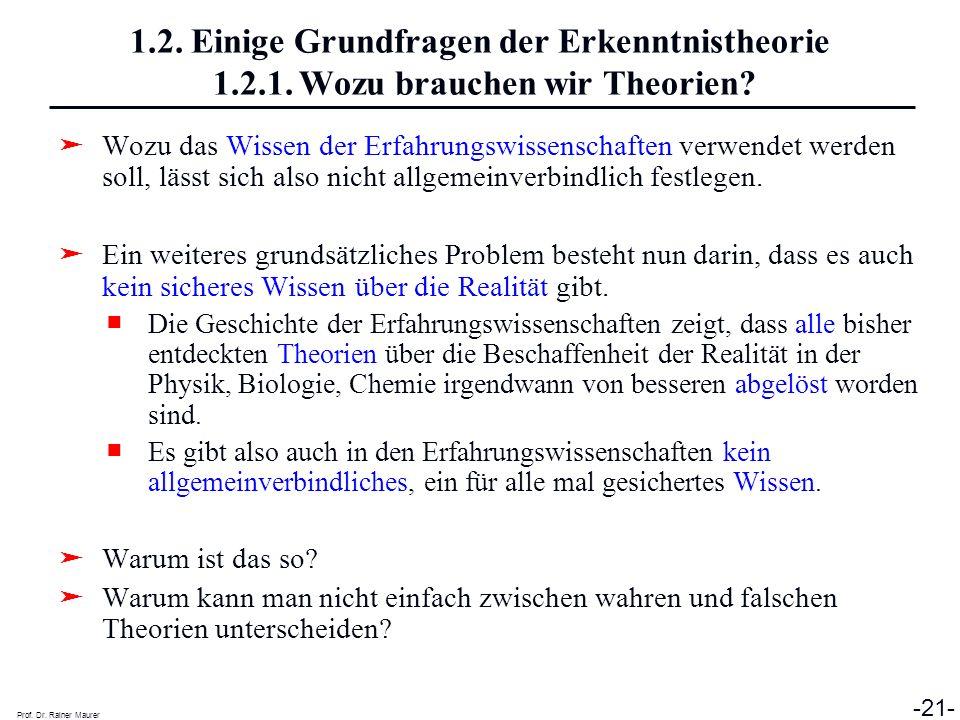 Prof. Dr. Rainer Maurer -21- 1.2. Einige Grundfragen der Erkenntnistheorie 1.2.1. Wozu brauchen wir Theorien? Wozu das Wissen der Erfahrungswissenscha