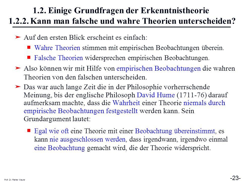 Prof. Dr. Rainer Maurer -23- 1.2. Einige Grundfragen der Erkenntnistheorie 1.2.2. Kann man falsche und wahre Theorien unterscheiden? Auf den ersten Bl