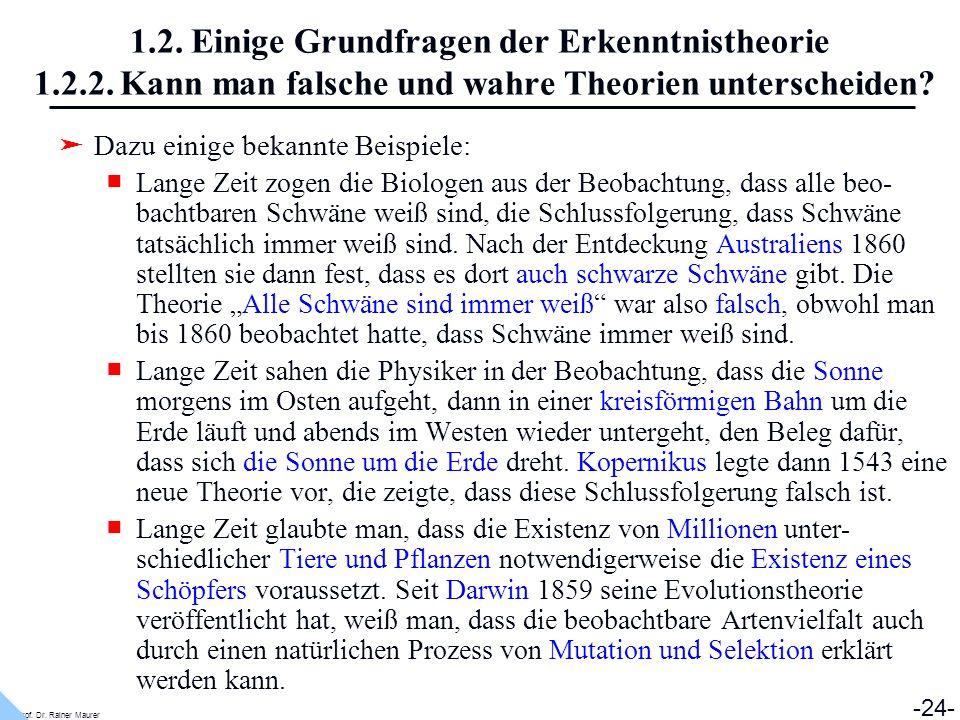 Prof. Dr. Rainer Maurer -24- 1.2. Einige Grundfragen der Erkenntnistheorie 1.2.2. Kann man falsche und wahre Theorien unterscheiden? Dazu einige bekan