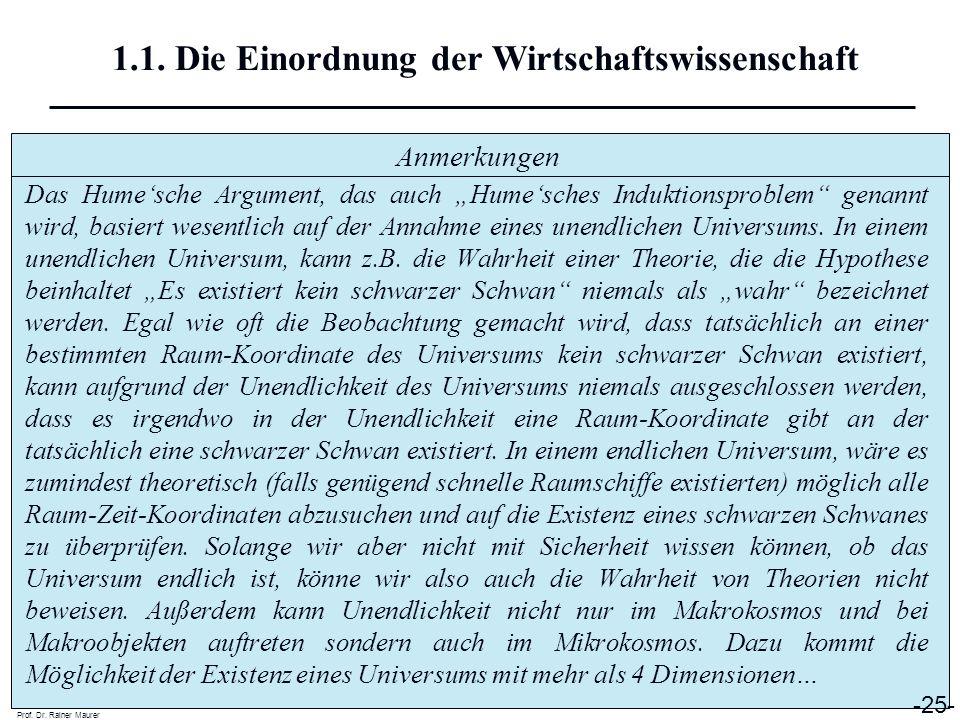 Anmerkungen Prof. Dr. Rainer Maurer -25- 1.1. Die Einordnung der Wirtschaftswissenschaft Das Humesche Argument, das auch Humesches Induktionsproblem g