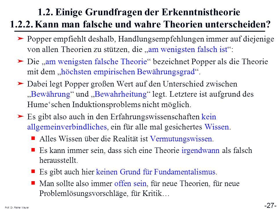 Prof. Dr. Rainer Maurer -27- 1.2. Einige Grundfragen der Erkenntnistheorie 1.2.2. Kann man falsche und wahre Theorien unterscheiden? Popper empfiehlt