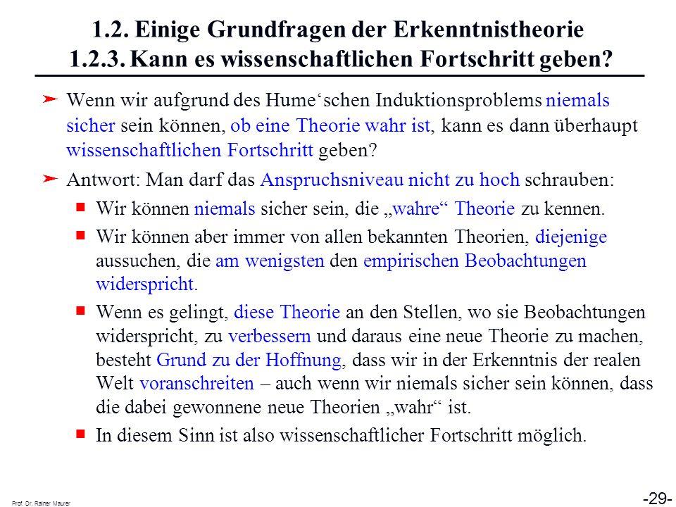 Prof. Dr. Rainer Maurer -29- 1.2. Einige Grundfragen der Erkenntnistheorie 1.2.3. Kann es wissenschaftlichen Fortschritt geben? Wenn wir aufgrund des
