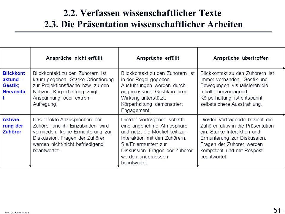 Prof. Dr. Rainer Maurer -51- Ansprüche nicht erfülltAnsprüche erfülltAnsprüche übertroffen Blickkont aktund  Gestik; Nervositä t Blickkontakt zu den