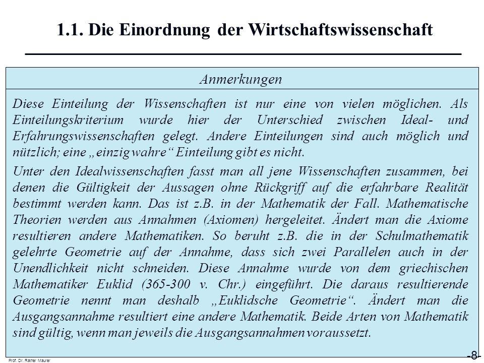 Anmerkungen Prof. Dr. Rainer Maurer -8- 1.1. Die Einordnung der Wirtschaftswissenschaft Diese Einteilung der Wissenschaften ist nur eine von vielen mö