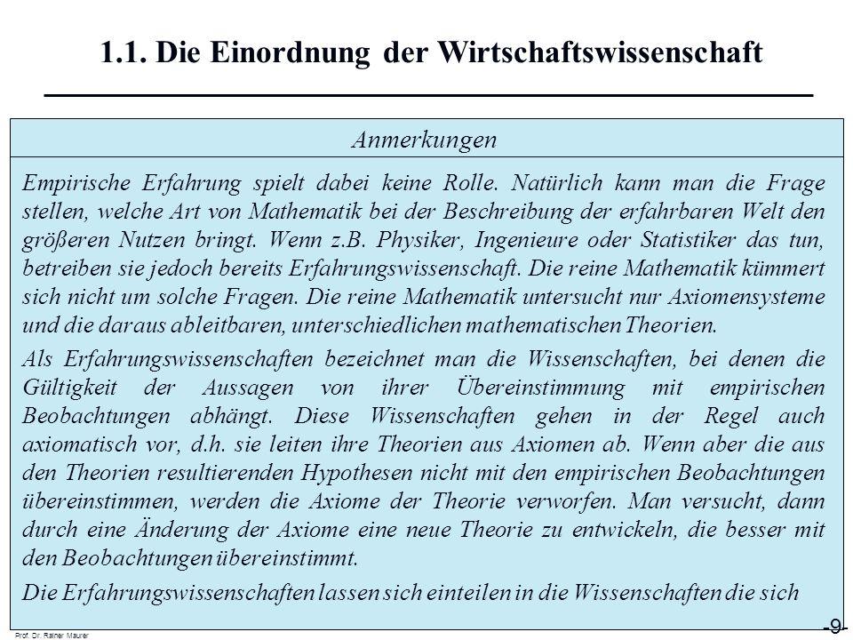 Anmerkungen Prof. Dr. Rainer Maurer -9- 1.1. Die Einordnung der Wirtschaftswissenschaft Empirische Erfahrung spielt dabei keine Rolle. Natürlich kann
