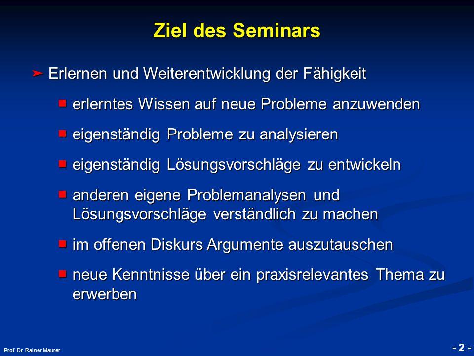 © RAINER MAURER, Pforzheim - 2 - Prof. Dr. Rainer Maurer Ziel des Seminars Erlernen und Weiterentwicklung der Fähigkeit Erlernen und Weiterentwicklung
