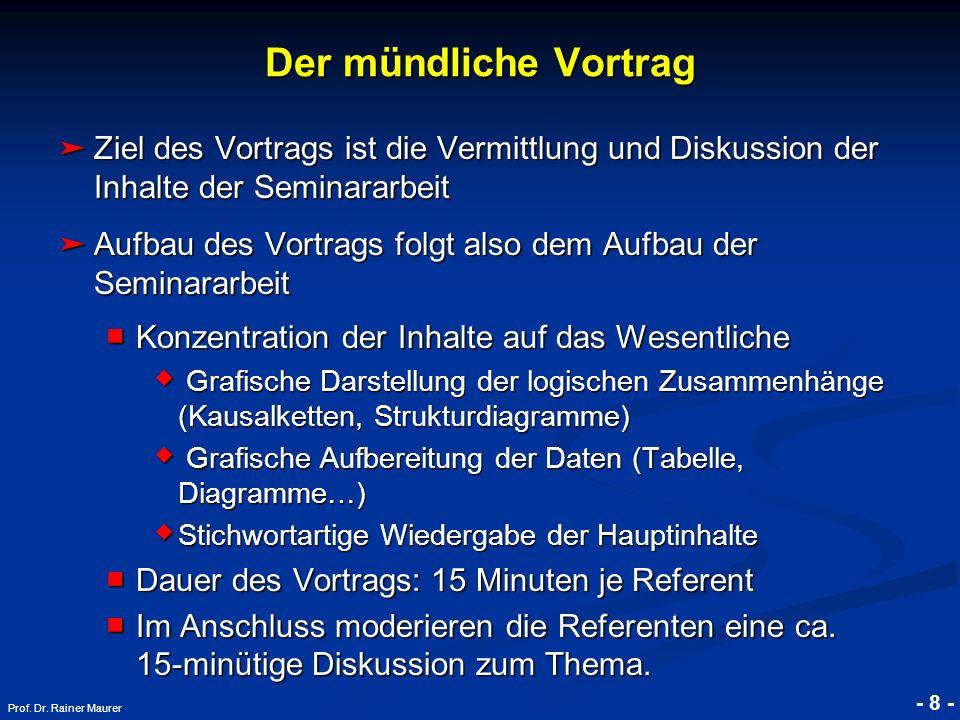 © RAINER MAURER, Pforzheim - 8 - Prof. Dr. Rainer Maurer Der mündliche Vortrag Ziel des Vortrags ist die Vermittlung und Diskussion der Inhalte der Se