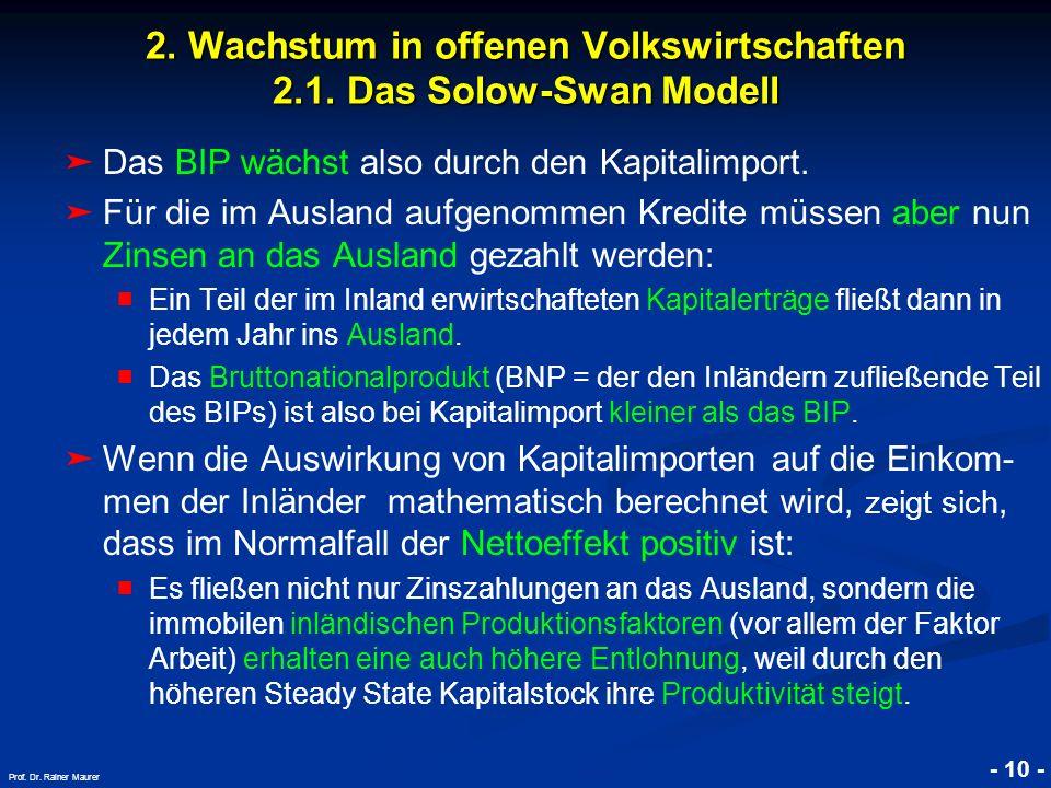 © RAINER MAURER, Pforzheim - 10 - Prof. Dr. Rainer Maurer 2. Wachstum in offenen Volkswirtschaften 2.1. Das Solow-Swan Modell Das BIP wächst also durc